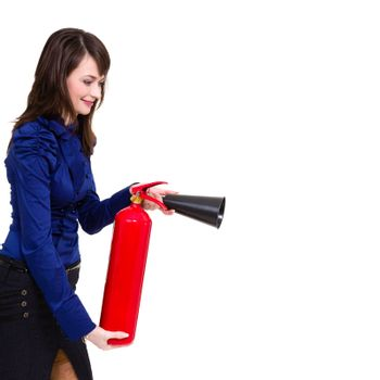 beautiful young businesswoman, using a fire extinguisher isolated on white