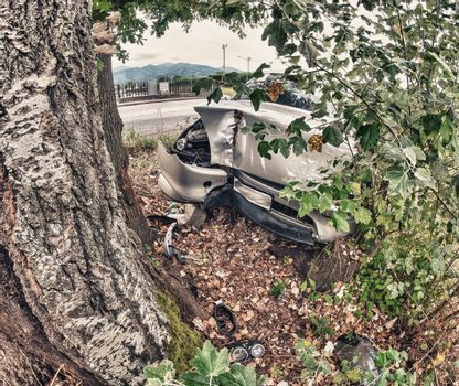 Terrible accident - Car against a tree