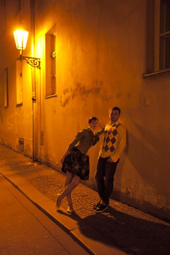young couple on the streets of Prague nightlife