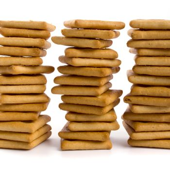 three stacks of cookie