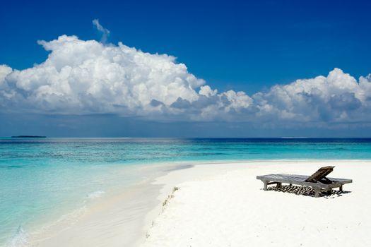 Sun beds on the beach of the ocean