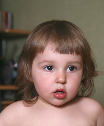 Portrait of the little girl close-up