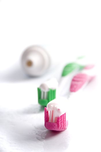toothpaste and toothbrushes