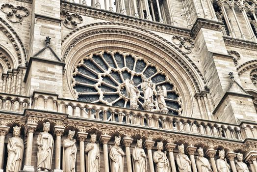 Notre Dame Cathedral, Paris. Beautiful facade architectural deta