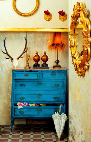 baroque grunge vintage house with blue drawer