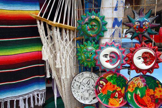 Mexican handcrafts hammock serape and ceramics