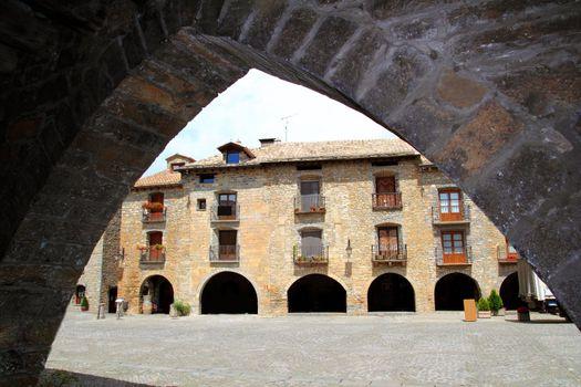 Ainsa medieval romanesque village street Spain