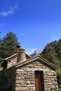 stone mountain house in Pyrenees mountains