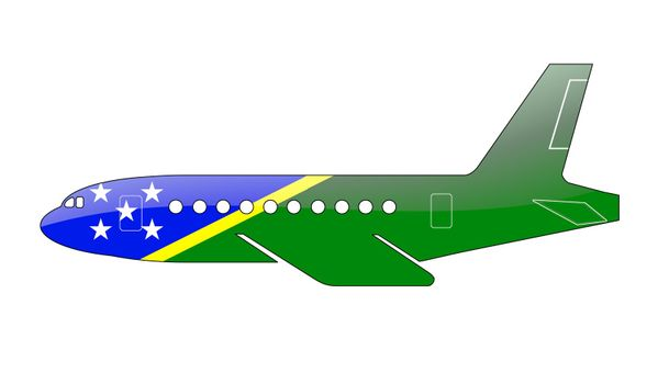 The Solomon Islands flag painted on the silhouette of a aircraft. glossy illustration