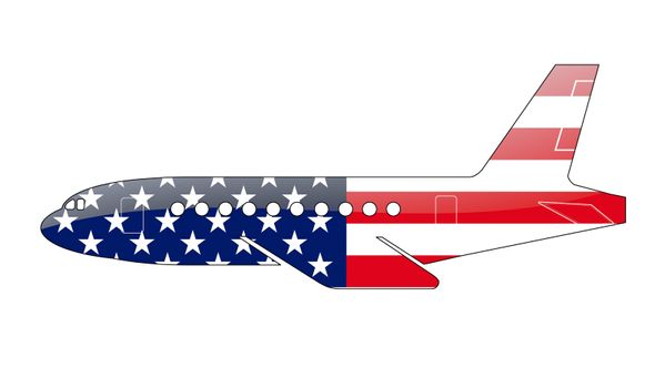 The USA flag painted on the silhouette of a aircraft. glossy illustration