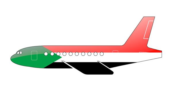 The Sudan flag painted on the silhouette of a aircraft. glossy illustration