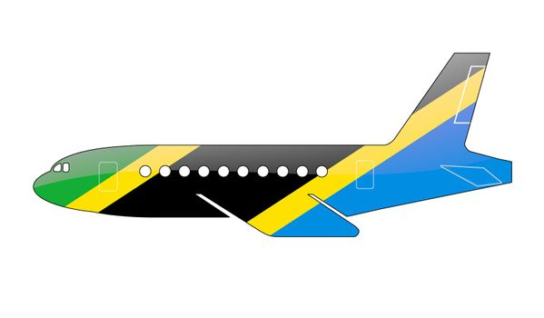 The Tanzania flag painted on the silhouette of a aircraft. glossy illustration