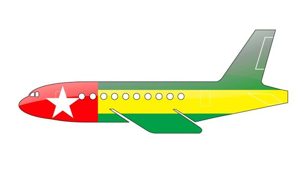 The Togo flag painted on the silhouette of a aircraft. glossy illustration