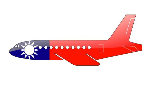 The Taiwan flag painted on the silhouette of a aircraft. glossy illustration