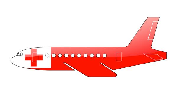 The Tonga flag painted on the silhouette of a aircraft. glossy illustration