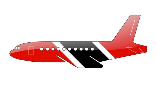 The Trinidad and Tobago flag painted on the silhouette of a aircraft. glossy illustration
