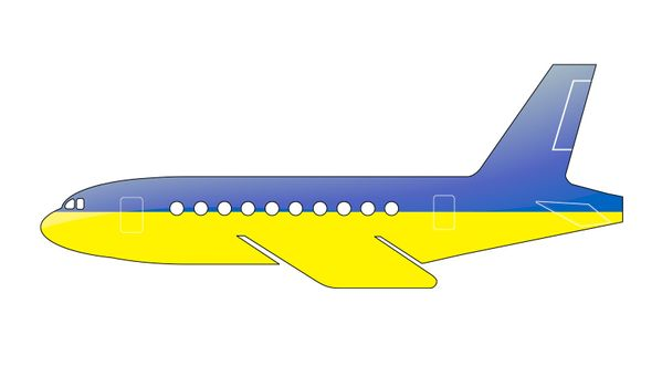 The Ukrainian flag painted on the silhouette of a aircraft. glossy illustration