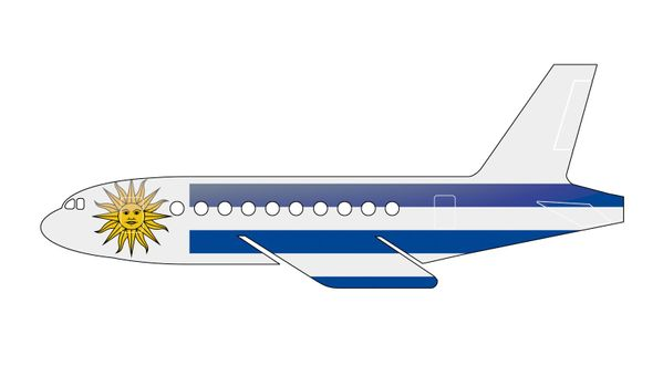 The Uruguayan flag painted on the silhouette of a aircraft. glossy illustration