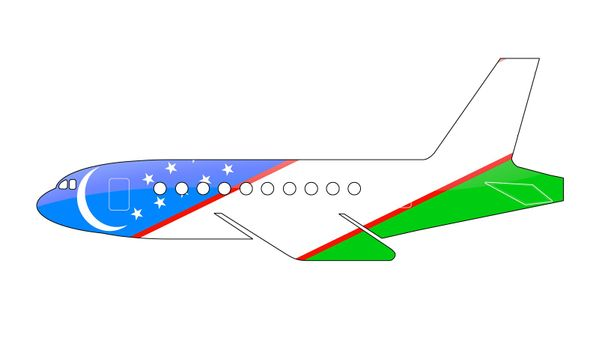 The Uzbek flag painted on the silhouette of a aircraft. glossy illustration