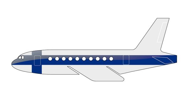 The Finnish flag painted on the silhouette of a aircraft. glossy illustration