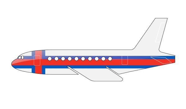 The Faroe Islands flag painted on the silhouette of a aircraft. glossy illustration