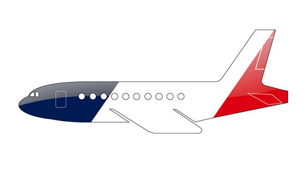 The French flag painted on the silhouette of a aircraft. glossy illustration