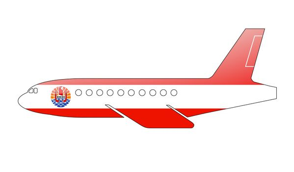 The French polynesia flag painted on the silhouette of a aircraft. glossy illustration