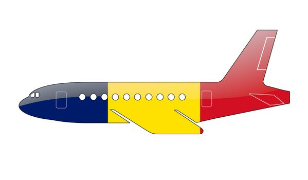 The Chad flag painted on the silhouette of a aircraft. glossy illustration