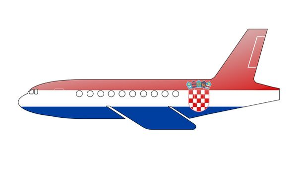 The Croatian flag painted on the silhouette of a aircraft. glossy illustration