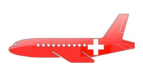 The Swiss flag painted on the silhouette of a aircraft. glossy illustration