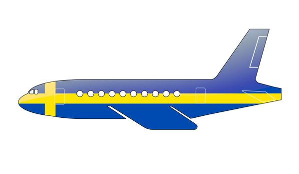The Swedish flag painted on the silhouette of a aircraft. glossy illustration