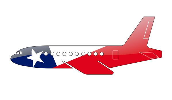 The Chile flag painted on the silhouette of a aircraft. glossy illustration