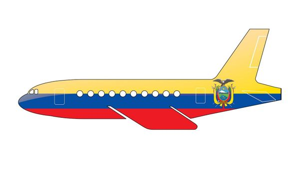 The Ecuador flag painted on the silhouette of a aircraft. glossy illustration
