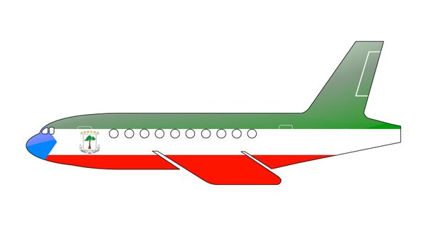 The Equatorial Guinea flag painted on the silhouette of a aircraft. glossy illustration