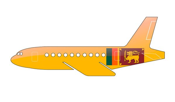 The Sri Lanka flag painted on the silhouette of a aircraft. glossy illustration