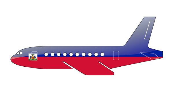 The Haiti flag painted on the silhouette of a aircraft. glossy illustration