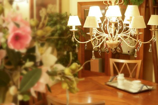 Baroque italian chandelier wooden livingroom