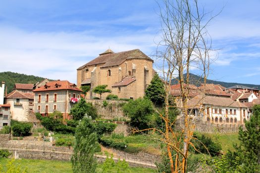 Hecho village Pyrenees with Romanesque church