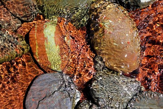 river water bottom stream red rocks transparency