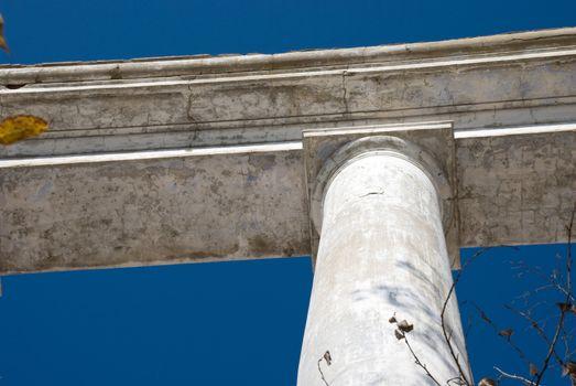 columns against the blue sky