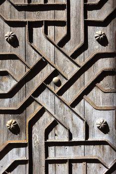 old aged wooden door iron handcraft deco