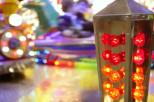 funfair fairground attraction nigh colorful light