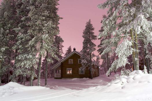 Nightly Lapland cottage on the back light of city
