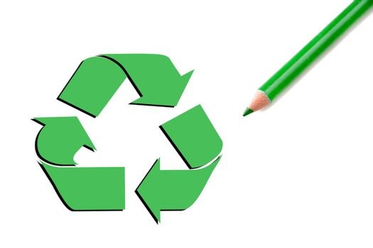 Recycle symbol along with a green pencil with shadow.  Concept of a cleaner Earth.  Room also avaiable for copy space.