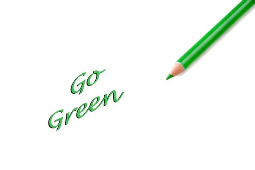 Concept of going green and saving the world.  Words are an illustration and the pencil a photo to create the idea.