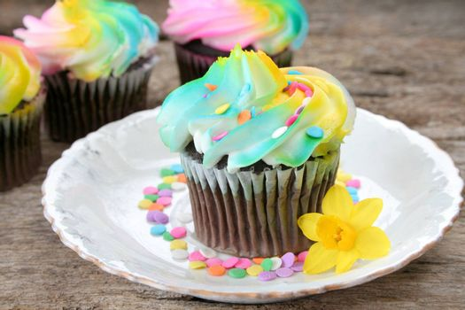Chocolate cup cakes with sprinkles and a spring flower on the side.