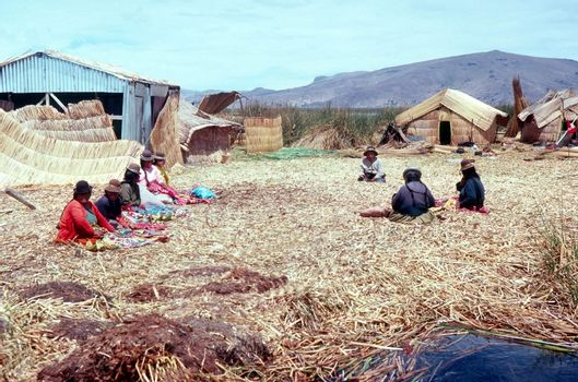 Lake Titicaca in Peru with floating islands made from totora reeds