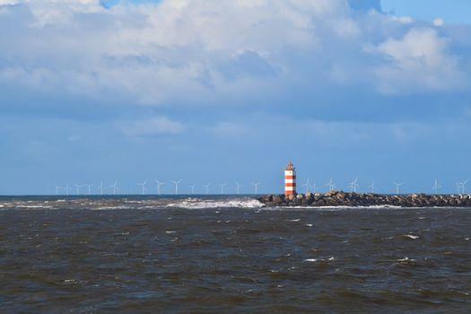 red lighthouse in North sea