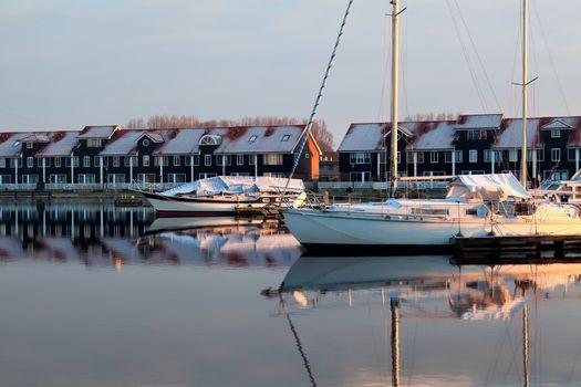yachts on marina in Groningen