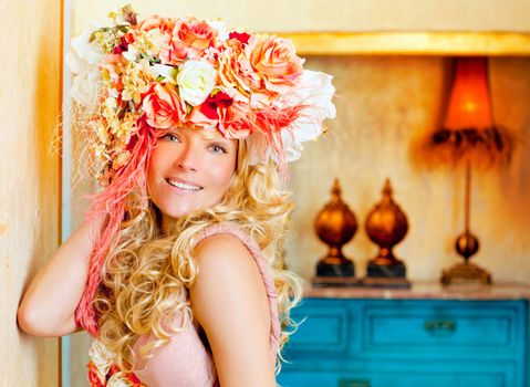 baroque fashion blonde woman with flowers hat